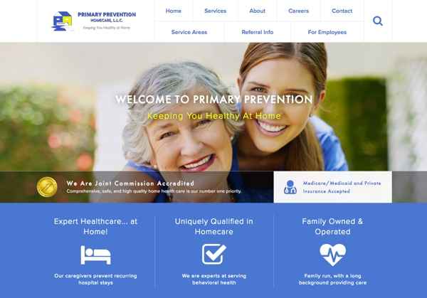 Primary Prevention Homecare website design