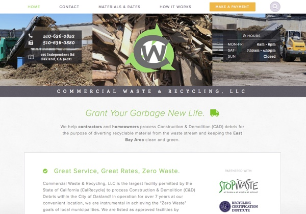 Commercial Waste & Recycling website design